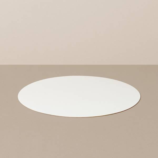 Placemat M, round, in white / pink