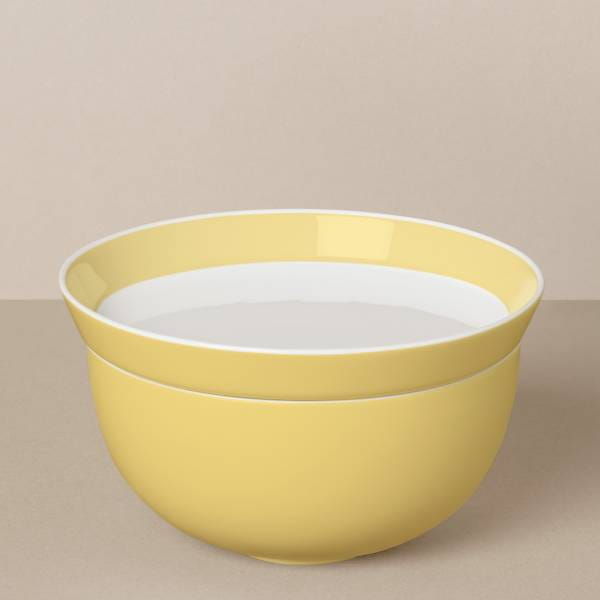 Large bowl and plate set in white / yellow