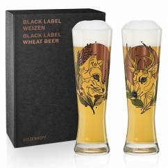 Black Label Wheat Beer Glass Set by Tobias Tietchen (Stag & Fox)